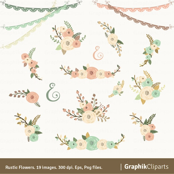 Rustic Flowers Clipart Quote. Floral Clipart. Floral