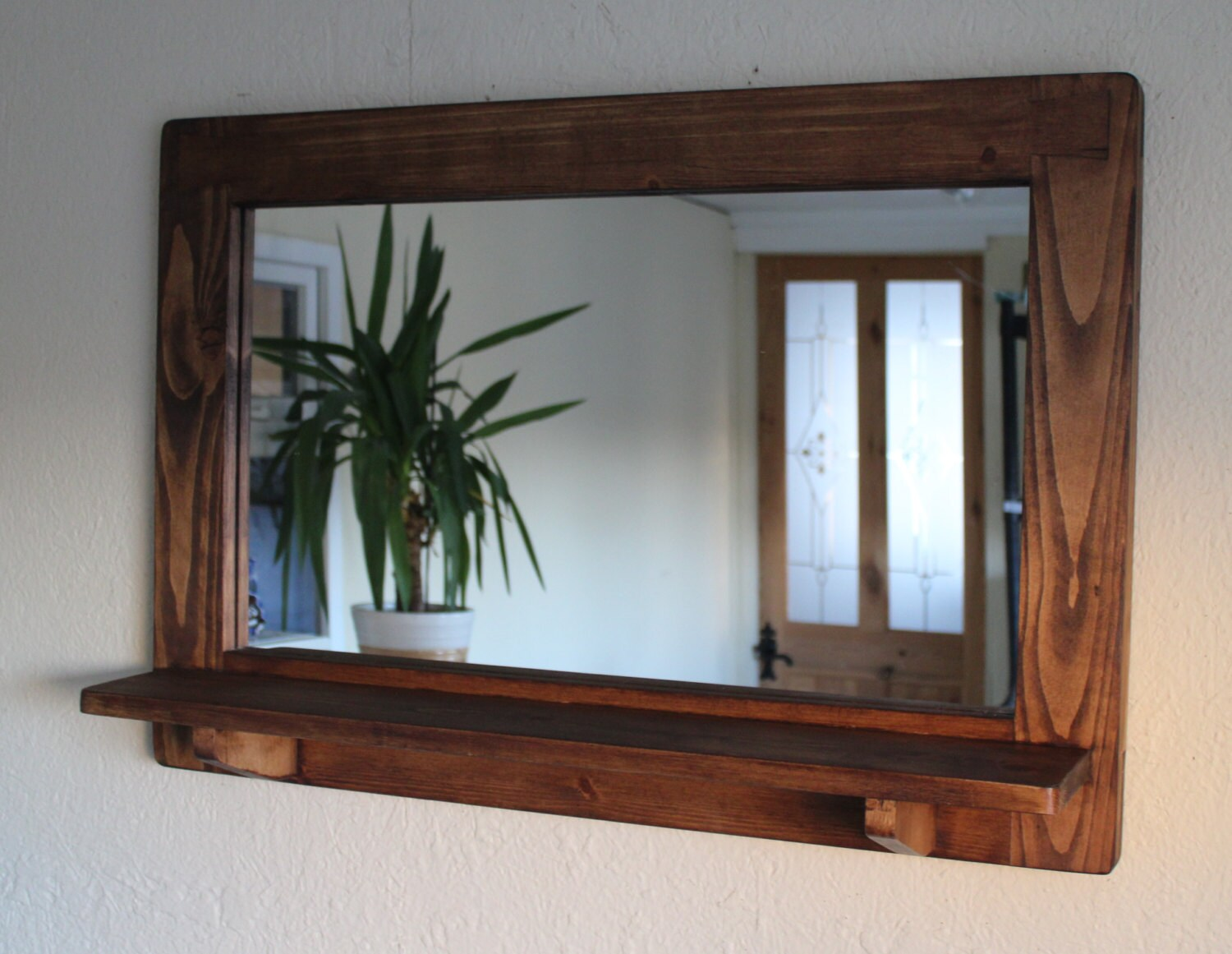 Large mirror with shelf thick wood frame dark wood stain eco