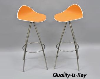 Pair Onda Barstools Orange Rubber & Steel Metal Jesús Gasca Stua Modern Chair