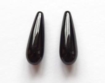 A grade Black Agate Onyx Half Top drilled Smooth Teardrops 7x22 mm One Pair J6488 J7028