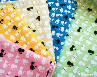 Kawaii Japanese Fabric - Cute Cats - 5 Fat Quarter Bundle Set (sh151016)