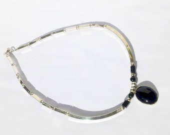 "Vintage Estate Sterling Silver Modernist Square Beads Onyx Pendant Necklace - 14"""