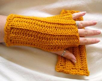 Yellow Wool Fingerless Gloves - Gold Wool Fingerless Gloves - Yellow Wool Gauntlets - Gold Wool Gauntlets - Yellow Gloves - Gold Gloves