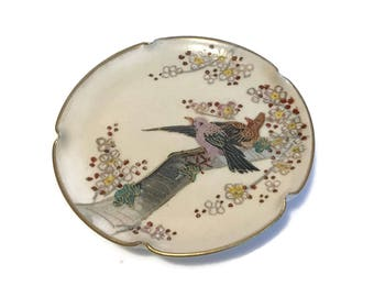 1920s Japanese Satsuma Pottery small dish, butter pat plate, hand painted sakura with birds on a branch, gilt, Craquelure