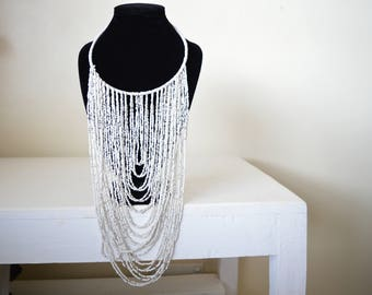 African Maasai Beaded Necklace | African Beaded Necklace | White Necklace | One size fits all | Gift for Her