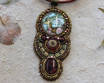 Deer with flowers pendant necklace. Bead embroidered. Tile beads. Leather cord.