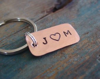 Personalized Keychain,Couple Initials,Tiny Keychain,Custom Hand Stamped Copper,Anniversary Gift,Romantic Gifts,Boyfriend Gift,Husband Gift