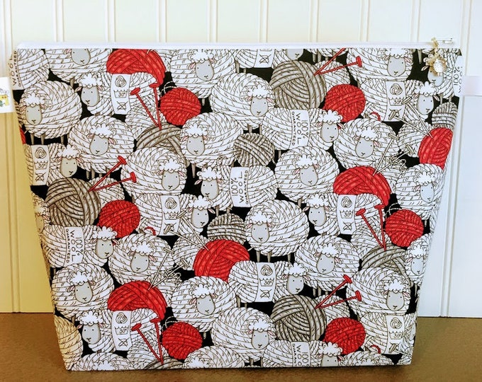 Featured listing image: Large Yarn Ball Sheep Knitting Project Bag