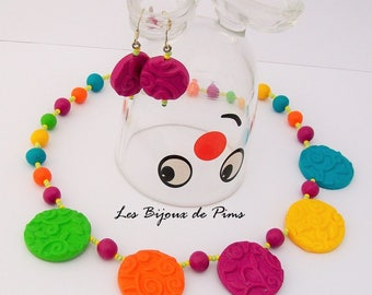Set of colorful polymer clay jewelry