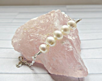 Pearl anklet, Freshwater pearl ankle bracelet, Silver pearl anklet, Beach wedding jewelry, Pearl ankle jewelry, Bridal jewelry, Made in UK