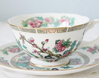 Vintage Royal Grafton Teacup and Saucer, Indian Tree, England
