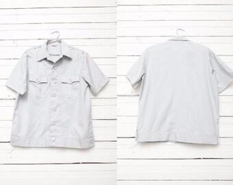 Vintage Grey Button Up Short Sleeve Shirt / Men Summer Short Sleeve Jacket / Size L Large / Work Shirt / Leisure Top / 80s Style
