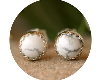 White Howlite Marble Stud Earrings, 5 mm Studs, White Gemstone Studs