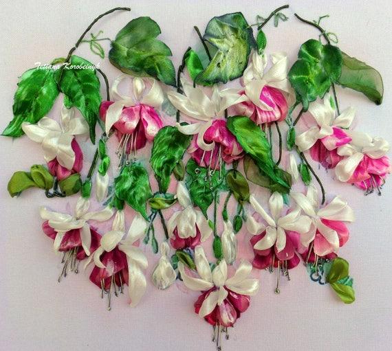 Ribbon Embroidery Picture Fuchsia Silk Ribbon