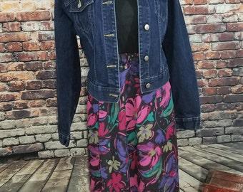 Knee Length Floral Circle Skirt 1990's Midi Skirt