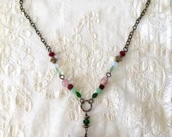 Vintage Romantic Roses Pink Green Burgundy brass bronze  necklace