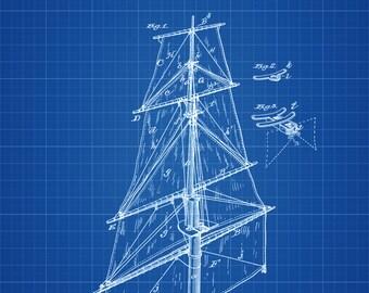 Ship Sails Patent Print - Vintage Sails, Ship Sail Blueprint, Naval Art, Sailor Gift,  Nautical Decor, Ship Sail Poster, Mast