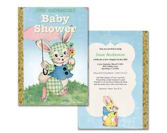 Book themed baby shower invitation printable baby shower