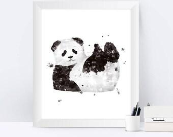 Baby Panda Art Print Panda Painting Baby Panda Animal Print Baby Panda Animal Art Panda Wall Art Panda Gift Nursery Panda Watercolor