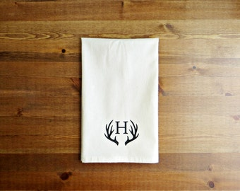 Deer Antler Initial Decorative Kitchen Towel - Unbleached Cotton Muslin