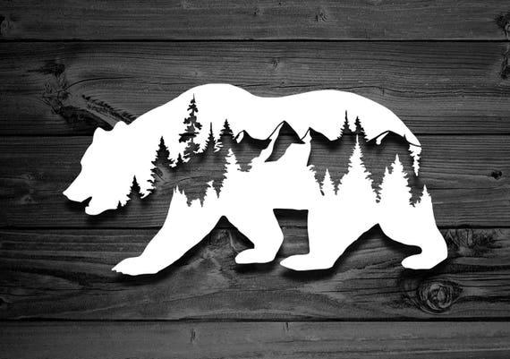 Bear Vinyl Decal Car Decal Mountain Decal Mountain Sticker