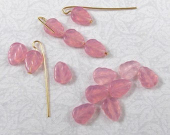 Pink Opal Glass Leaf Beads, 25