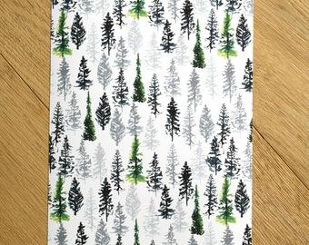 Tree Print - Fir Tree Print - Tree Art - Tree Painting - Home Decor Wall art - Art Prints - Green trees print - Tree Pattern - Conifer print