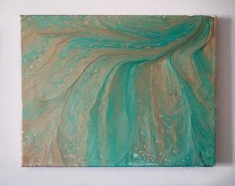 "Abstract Fluid Canvas Painting 11x14 ""BeachSide"""