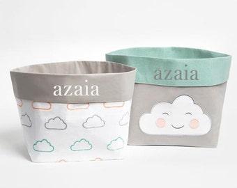 Happy Cloud (Pink)- Fabric Storage Baskets, Nursery Storage Baskets, Storage Baskets, Canvas Storage Baskets, Baby Baskets, Nursery Baskets