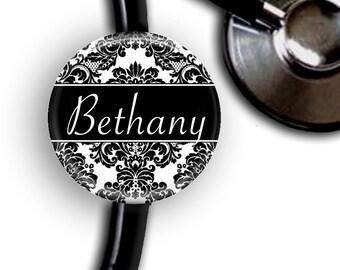 Black & White Damask Personalized Stethoscope ID Tag