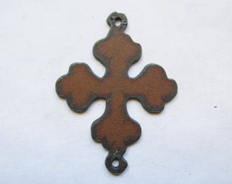Cross connector rustic rusty recycled metal #RM156