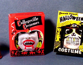Halloween Costume Boxes - Dracula and Skeleton  - Dollhouse Miniature - 1:12 scale - Dollhouse Halloween party Haunted House vampire