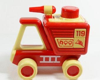 Tonka Push Toy - 1985 Fire Truck Push Toy Squeak Toy - Vintage Fireman Tonka 119 Toddler Toy