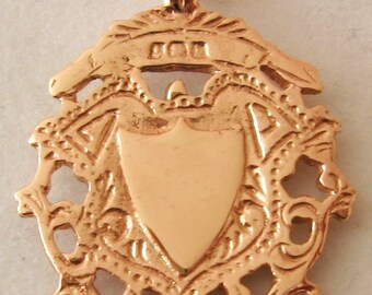 Genuine SOLID 9K 9ct ROSE GOLD Large English Shield  Pendant Double Sided