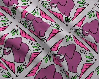 Tiled Elephants Fabric - Elephantsrainbows By Hollydiane - Elephant Floral Leaves Pink Mauve Tile Cotton Fabric By The Yard With Spoonflower