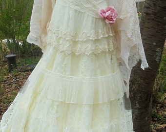 Lace tulle   dress wedding tiered  boho  vintage  bride outdoor  romantic small by vintage opulence on Etsy