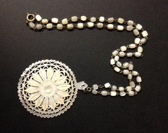 Vintage Jerusalem Necklace made in Bethlehem- Carved Mother of Pearl - large Flower Pendant