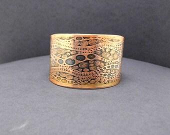 Copper Bubble Design Cuff Bracelet