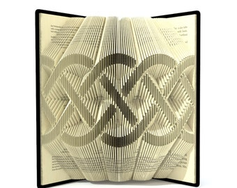 Book folding pattern - CELTIC KNOT - 296 folds + Tutorial with Simple pattern - Heart - SI0504