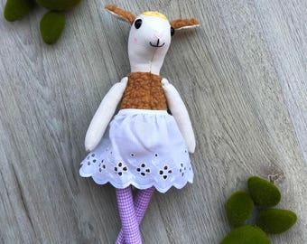 Sheep plush / fabric doll, rag doll, heirloom doll