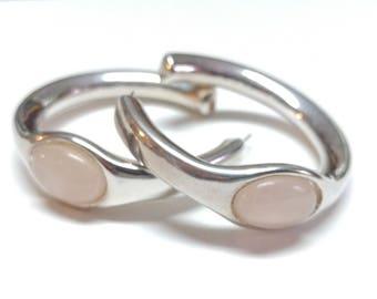 Designer Simon Sebbag Sterling Silver 925 and Rose Quartz Electroform Chunky Earrings