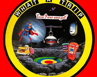 Record, Altered art, recycled, collage, Trip, Airplane, Fantasy, Superman, Pop Art