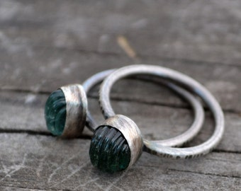hard candy stacking rings - size US 7 3/4 - green fluorite and sterling silver