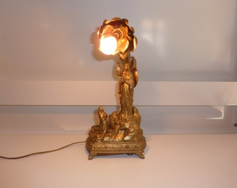 statue Mary ormolu box lamp music old french religious Virgin Mary french antique religious french statue
