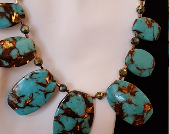 Turquoise and Bronzite Necklace