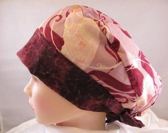 Women's Pixie Scrub Hat Burgundy Parrot