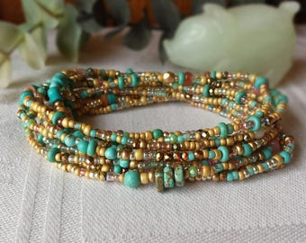 Sandstone Turquoise Long Seed Bead Wrap Bracelet, Necklace