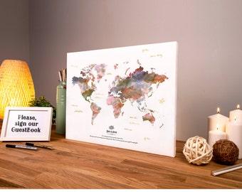 World map canvas alternative wedding guest book map guest libro de visitas mapa personalizado boda mundo boda decoracin lona plstico listo para colgar gumiabroncs Images