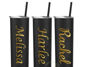 Personalized Gold Tumbler, Stainless Steel Skinny Tumbler, Personalized Gift, Wedding Tumbler, Bridesmaid Custom Gift, Bridal Party Tumbler