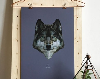 Wolf Lowpoly Fine Art Design Print | A3 & A5 | Spirit Power Animal / Totem / Colour Psychology